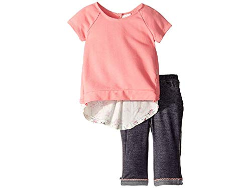 BCBG Girls Baby Girl's Flyaway French Terry Top/Denim Knit Capris Set (Infant) Candy Pink 12 Months