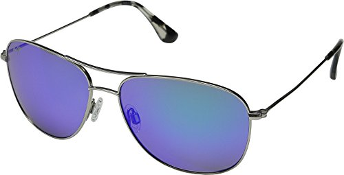Maui Jim Cliff House B247-17 | Polarized Aviator Frame Sunglasses, Silver - Blue Hawaii, with with Patented PolarizedPlus2 Lens Technology