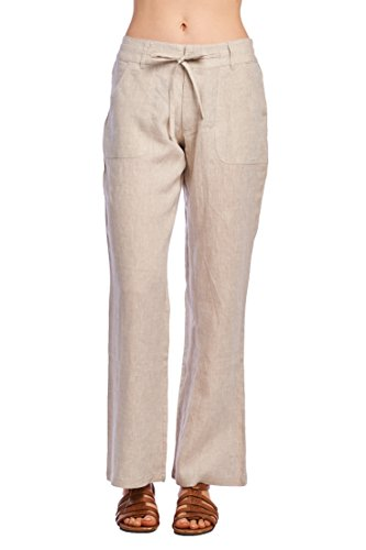 Womens Linen Drawstring Pants - 6