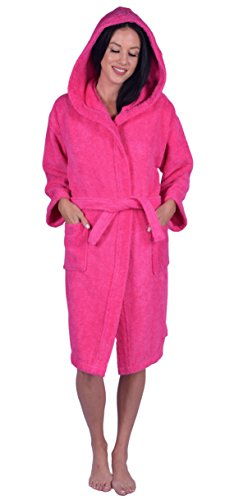 Kids Terry Hooded Robe for Boys and Girls, 100% Turkish Natural Soft Cotton, Made in Turkey (X-Large, Hot Pink) -
