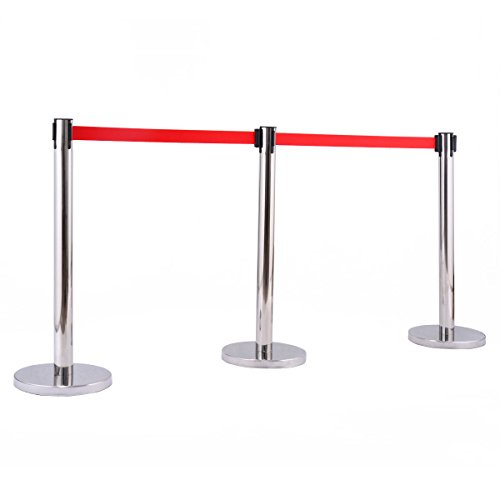 6 Pcs. Belt Retractable Crowd Control Stanchion Barrier Posts Queue Pole, Red by Alek...Shop (Image #3)