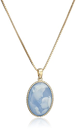Child Genuine Agate - 18k Yellow Gold Plated Sterling Silver Genuine Blue Agate Mother and Child Cameo Pendant Necklace, 18