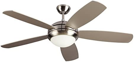 Monte Carlo 5DI52ESBSD Protruding Mount, 5 Silver Blades Ceiling fan with 13 watts light, Brushed Steel