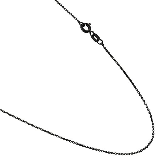 Black Rhodium plated Over Sterling Silver 1mm Rolo Styled Cable Link Necklace Chain. 16,18,20,24