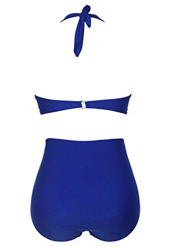 Nuevas señoras azul lunares Halter cuello cintura alta bikini Swimwear Beachwear verano desgaste tamaño S UK 8–�?0EU 36–�?8
