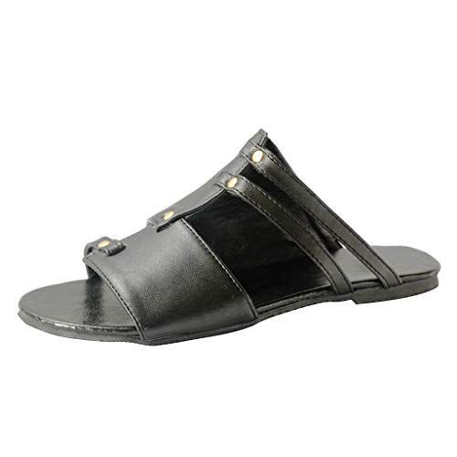 (Leather Slide Sandals for Women,SMALLE◕‿◕ Women's Outing Flats Sandals Lightweight Open Toe Punk Roman Shoe Black)