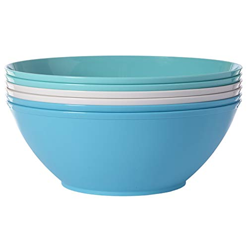 Fresco 10-inch Plastic Mixing and Serving Bowls | set of 6 in 3 Coastal Colors]()