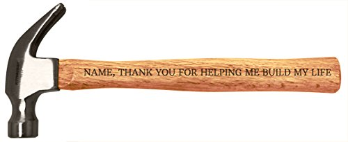 (Customized Name Thank You Helping Build Life Custom Personalized Engraved Wood Handle Steel Hammer)