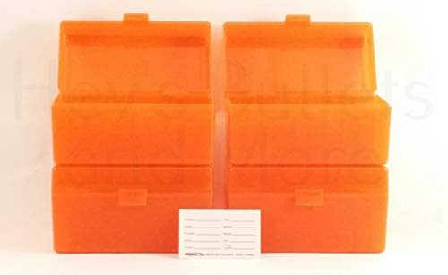 BERRY'S Plastic Ammo Box, Orange 50 Round 243/308 (4) (Winchester 308 Ammo)