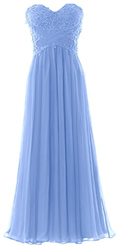MACloth Women V Neck Lace Chiffon Long Prom Dresses Formal Party Evening Gown (46, Cielo azul)