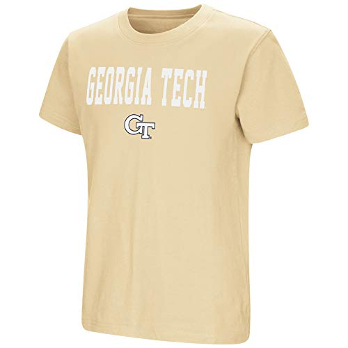 (Colosseum NCAA Youth Boys-Talk The Talk-Cotton T-Shirt-Georgia Tech Yellow Jackets-Old Gold-Youth Medium)
