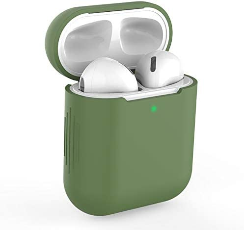 Airpods Case Cover Compatible with AirPods 2/&1 Support Wireless Charging KOKOKA Silicone Shockproof Airpods Case Cover -Dark green Front LED Visible