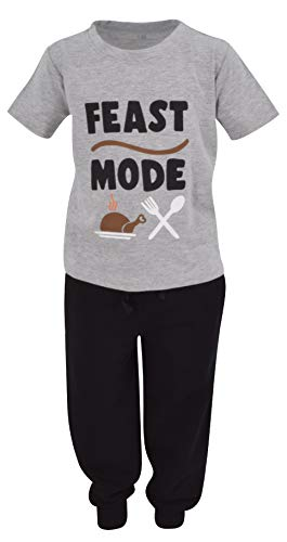 Unique Baby Boys Feast Mode Thanksgiving Outfit Shirt Jogger Sweat Pant (2t) Grey