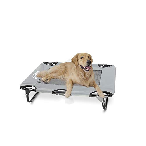 "Outrav Elevated Dog Cot with Steel Frame - Foldable Raised Play and Rest Bed for Dogs and Cats - Heavy Duty Strong Material - Pet Cot with Bonus Storage Bag (Small 30"" x 24"" x 8"", Grey)"