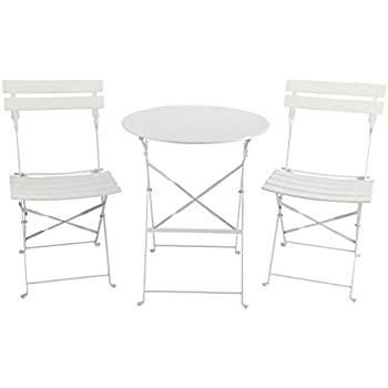 Finnhomy Slatted 3 Piece Outdoor Patio Furniture Sets Bistro Sets Steel Folding Table and Chair Set  sc 1 st  Amazon.com & Amazon.com: HollyHOME Outdoor Balcony Folding Steel Bistro Furniture ...
