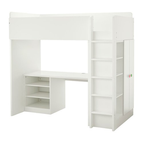 Ikea Twin Size Loft Bed With 2 Shelves 2 Doors White