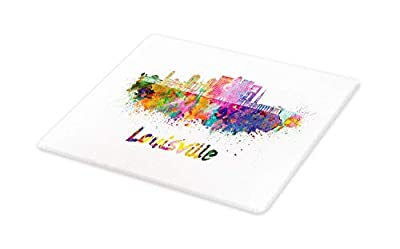 Lunarable Kentucky Cutting Board, Watercolor Paint Splashes Grunge City Silhouettes Rainbow Louisville Lettering, Decorative Tempered Glass Cutting and Serving Board, Large Size, Multicolor