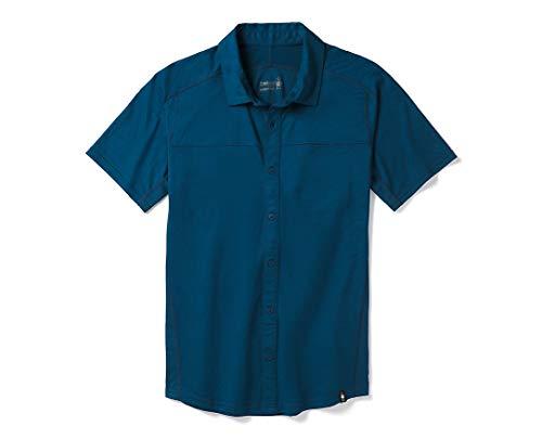 SmartWool Men's Merino Sport 150 Short Sleeve Button Down Alpine Blue Large
