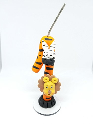 1st First Birthday Candle Number Boy Girl - 1 One Year Candle Number - Handmade Candles - Happy Birthday Cake Topper - Safari Candle Cake