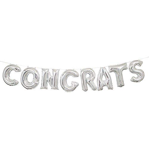 (Tellpet Congrats Balloons For Graduation Party, Silver, 17 inch)