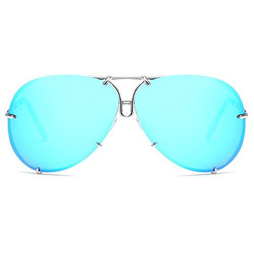hommes Aiweijia soleil Classic Frame Bleu Metal de pour Lunettes Fashion et femmes Argent UxU8FrIw
