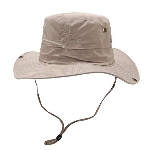 Yucode Summer Wide Brim Sun Hat Outdoor Sun Hat Protection Bucket Cap Solid Adjustable Fishing Hat Gray