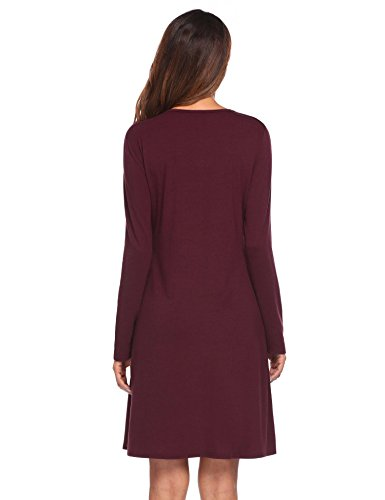 Flare pasttry Casual Women Fit Wrap Dress 4 Dress Red and wine Belt Style2 with Party Faux Neck Crossover Solid 3 V Sleeve rOwd6rq