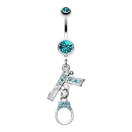 Jeweled Handgun Handcuff WildKlass Belly Button Ring -
