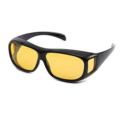 HD Night Day Vision Driving Wrap Around Anti Glare Sunglasses with Polarized Lens for Man and Women (yellow ()