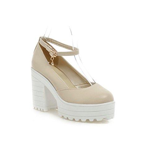 Sandalette-DEDE Damas, Zapatos, Tacones Altos, Zapatos, Grueso y de Gran Tamaño de Zapatos de Mujer, Zapatos de Cabeza Redonda, Poco Profunda, y Solo los Zapatos. creamy-white