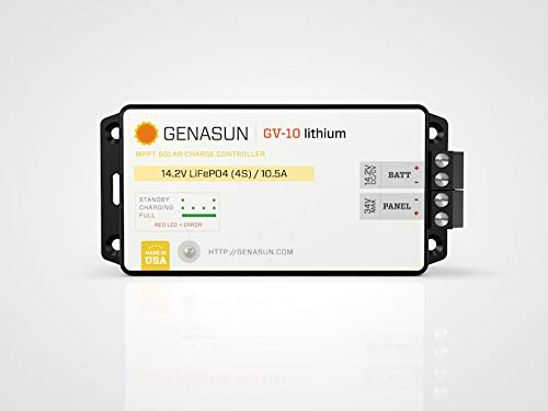 Genasun GV-10-Li-14.2V, 140W 10.5 Amp 14.2 Volt MPPT Solar Charge Controller for Lithium Batteries by Genasun