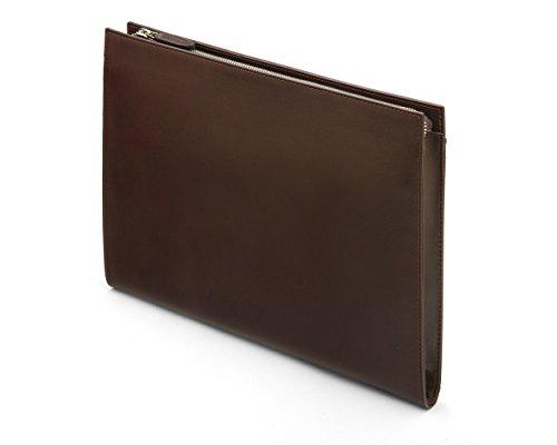 SAGEBROWN Brown Zip Top Leather Folder by Sage Brown (Image #3)
