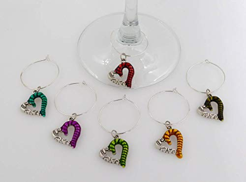 Enamel Heart Wine Glass Charms - 6 Piece Cocktail Drink Charm Set in Black Velour Gift Pouch by It's All About...You!