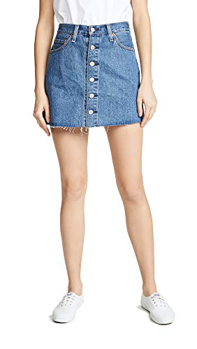 Levi's Women's Button Front Miniskirt, Carved Stone, Blue, 25