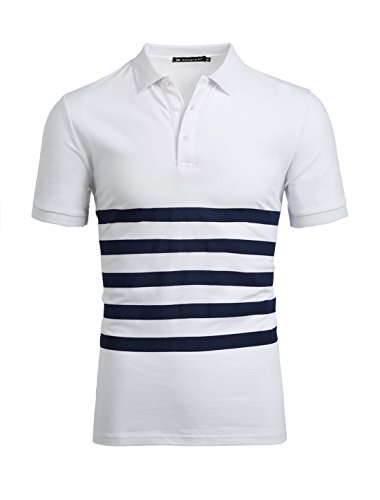 Allegra K Men Half Placket Buttoned Short Sleeves Stripes Tee Shirt White (Buttoned Placket)