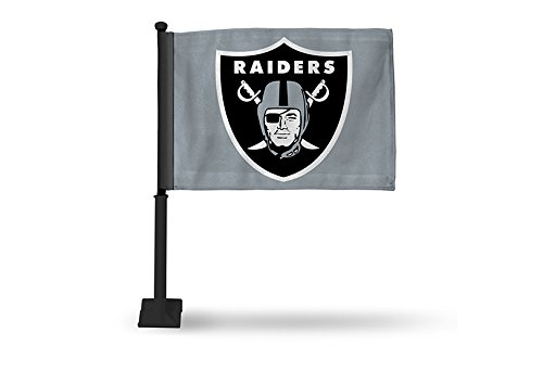 NFL Oakland Raiders Car Flag, Gray, with Black (Raiders Car Flag)