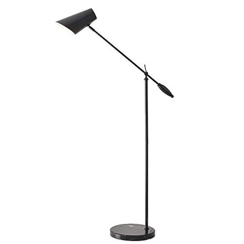 Modern Wrought Iron Floor Lamp Adjustable Metal Living Room Simple Vertical Table Lamp Creative Marble Bedroom Bedside (Color : Black, Size : 15630cm)