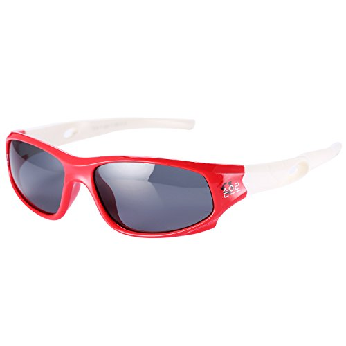 Pro Acme TPEE Rubber Flexible Kids Sports Polarized Sunglasses for Baby and Children Age 3-10 - Shaped Sunglasses Flame