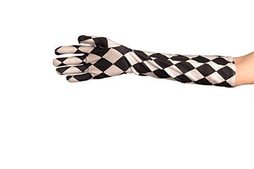 Black & White Satin Harlequin Gloves - Noir Gants Taille Unique (46 cm)