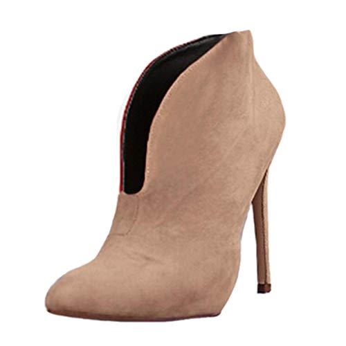 12 Elegante Casual Tacco Stivaletti Cm Scamosciato A Alti Boots Autunno Ankle Cachi Heels Spillo Tacchi Minetom Stivali High Scarpe Donna Moda 0Z6AUq