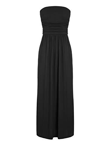 CHICIRIS Women's Retro Strapless Empire Waist Summer Backless Beach Tube Dress Black 2XL