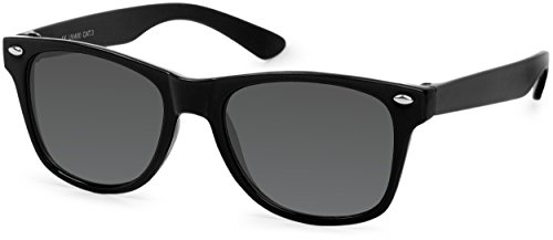 styleBREAKER Kinder Sonnenbrille, klassiches Retro, Nerd Design 09020056, Farbe:Gestell Schwarz / Glas Grau Volltönung
