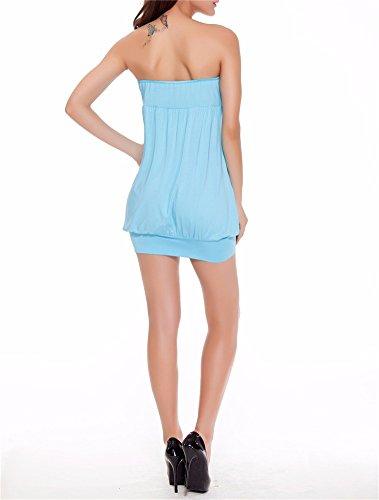 Yall La Mujer Leche Pijama De Seda Collar One-Word Blue