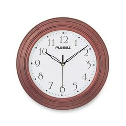 Lorell 60988 Wall Clock, 13-1/4-Inch, Arabic Numerals, Mahogany Frame