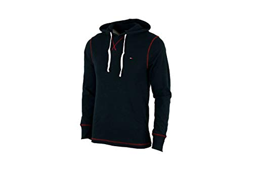 Tommy Hilfiger Men's Long Sleeve Hoodie Ribbed Shirt (Dark Navy, Medium)