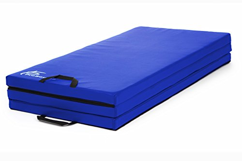 ProSource Tri-Fold Folding Thick 6'x4′ Exercise Mat with Carrying Handles for Tumbling/Martial Arts, Blue