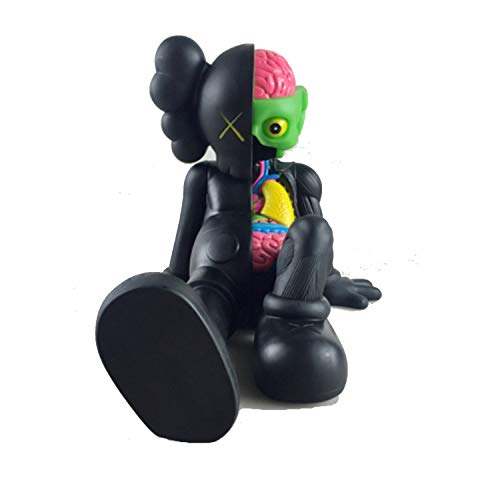 12 Inch Kaws BFF Sit Sitting Dissected Companion Original Fake Art Toys Action Figure Figurine Plush Doll Toy Model Statue Accessories Collection 3 Color Black Brown Grey Fancy Morden Gift (Black)