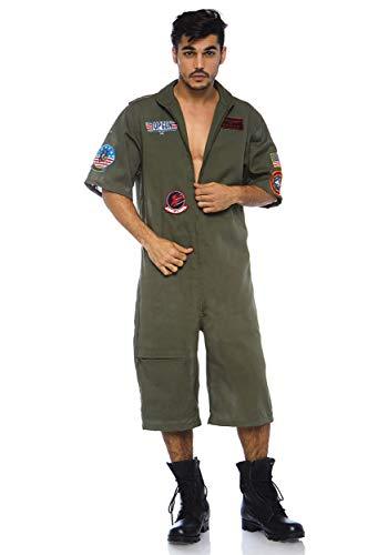 Leg Avenue Mens Top Gun Licensed Flight Suit, Khaki, Large