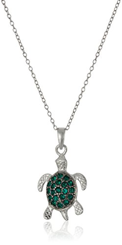 Crystal Swarovski Turtle (Sterling Silver Emerald Color Swarovski Crystal Turtle Pendant Necklace, 18