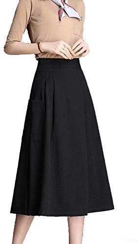 Primavera Mujer De Péndulo Grande Para Falda Negro Plisada Slim ...